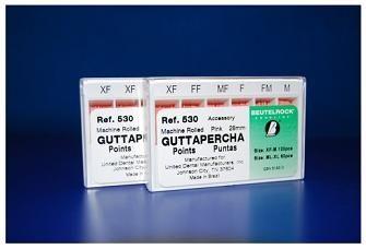 CONOS DE GUTA BEUTELROCK COLOR ISO • Puntas estables de gutapercha natural homogénea y biodegradable • Resitencia ideal y superficie especialmente lisa para una sencilla introducción • No irrita el tejido • Identificación sencilla gracias a los códigos de color • Radiopacidad visible a los rayos x • Medidas precisas según la especificación ISO 6877 • Presentación: Caja x 120 Unidades Surtido XF-FF-MF-F-FM-M - Cod 5964