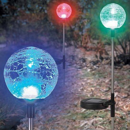 These Solar Powered Crackle Glass Orbs Are Great In The Night Garden. Each  Orb Cycles
