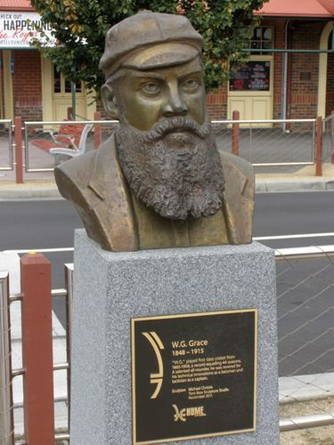 W.G. Grace, Sunbury, Victoria  Sculpted by Michael Christie, Tom Bass Sculpture Studio  2011. Sunbury is the site where a tiny terracotta urn, believed to be a perfume bottle bought by Lady Janet Clarke at an Egyptian bazaar, was presented to Ivo Bligh, the captain of the English touring team of 1882-83.