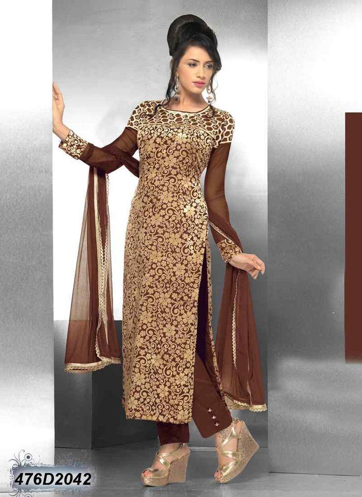 Designer Brown Coloured Velvet Net Salwar Suit