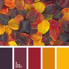 бледно-желтый, бордовый, вишневый, коричневый, красный, оранжевый, оттенки желтого, оттенки осени, палитра для осени, подбор цвета, подбор цвета для осени, фиолетовый, шафрановый, яркий красный.