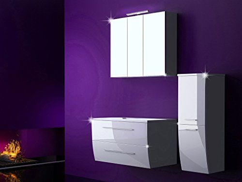 Set 4 Piece Complete Bathroom Furniture Set Bathroom Sink Unit with Wash Table and Mirror Cabinet 90 CM with LED
