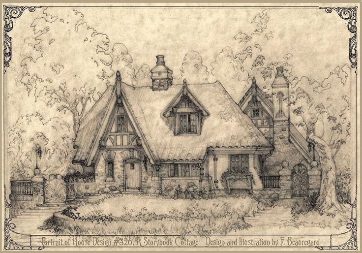 Pencil drawing of house 326, a storybook cottage style home with a courtyard plan for a narrow lot, small pool in the courtyard behind the house, and garage to the back. Fully integrated into the s...