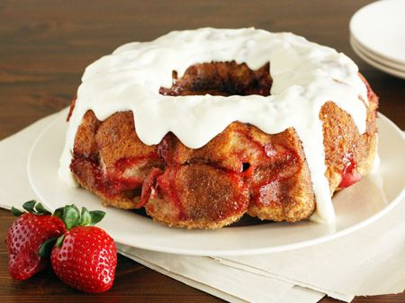 Strawberry Cream Cheese Monkey Bread  Sweeten up springtime with this strawberry monkey bread coated with a cream cheese glaze.