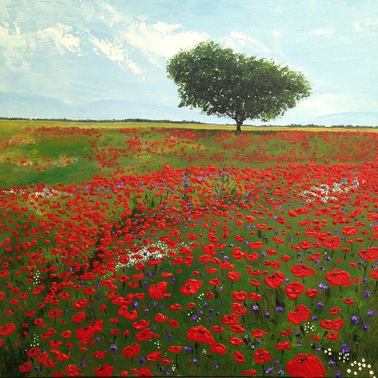 Wild Poppy Field, Acrylic on canvas, 24 x 24 inches