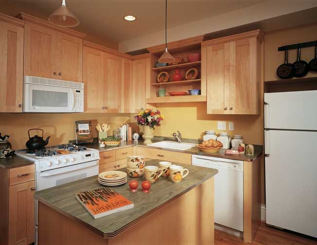 Small Light Wood Kitchen With Portable Island Shaker Doors White Appliances