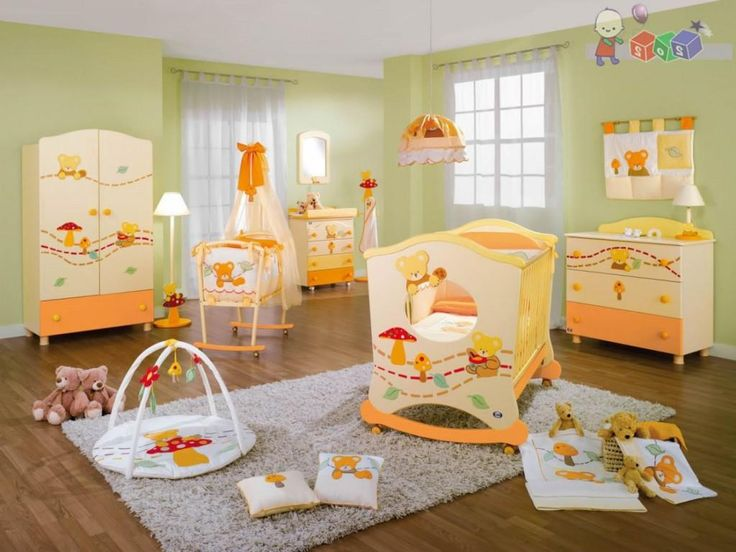 Gorgeous Boy Baby Nursery Ideas With Cute Doll Theme Furniture Set As Well White Fur Rug Under Crib Baby Also Soft Green Painting Wall And White Transparent Curtain Window Gorgeous Boy Baby Nursery Ideas Providing Utter Comfort and Safety Baby Nursery