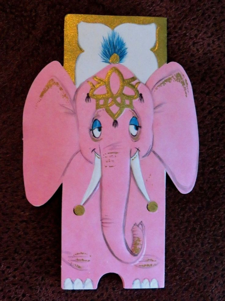 """Vintage Greeting Card UNUSED PINK Elephant Cocktail Party Invitation Tri-Fold FOR SALE • $8.00 • See Photos! Money Back Guarantee. Vintage Greeting Card ~ UNUSED ~ A Hallmark Card ~ Cocktail Party Invitation ~ Die-Cut ~ Tri-Fold ~ Gold Gilt ~ Embossed ~ Approx 4 1/2"""" x 3"""" folded ~ 172687890965"""