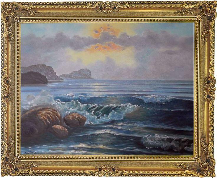Küstenlandschaft Maritim Seestück Original Ölgemälde Malerei mit Barockrahmen
