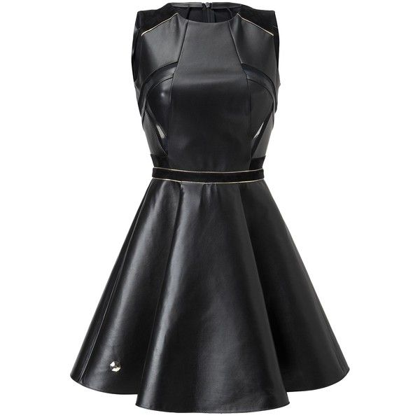 "leather dress ""fierce"" ($3,528) ❤ liked on Polyvore featuring dresses, circle skirt, genuine leather dress, sleeveless dress, leather dress and leather circle skirt"