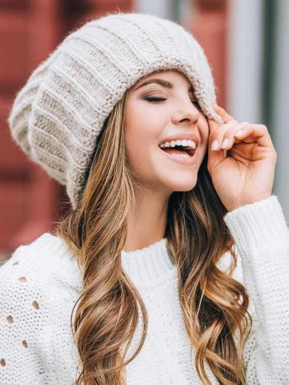 2a607e7085e47 Slouchy winter hat Dread tam hat Oversized beanie Winter benie hat for  dreads Extra large hat Wool hat women Hat for big head Beige beanie | w i s  h l i s t ...