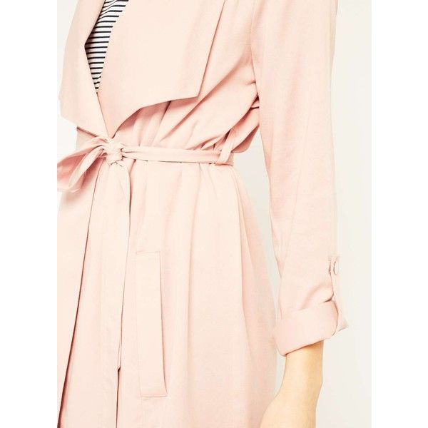 Miss Selfridge PETITE Blush Duster Coat (€53) ❤ liked on Polyvore featuring outerwear, coats, petite, powder blush, miss selfridge coats, duster coat, petite duster coat, pink duster coat and pink coat