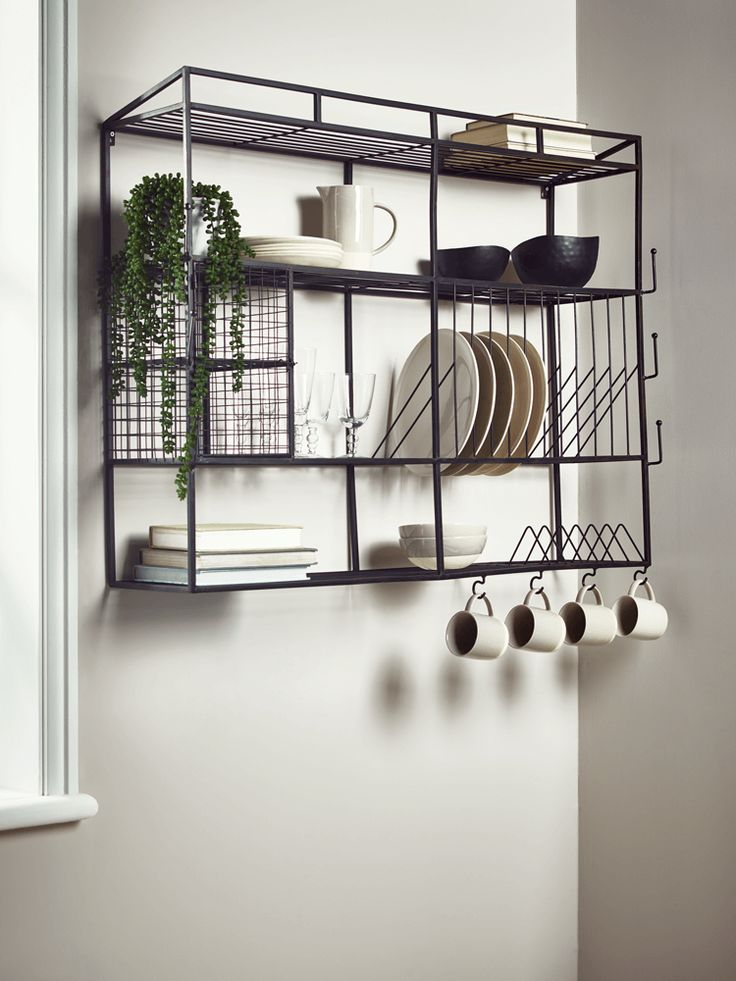 The perfect industrially inspired storage unit for any kitchen, our large wall rack has space to store twelve dinner plates, six side plates, four cups and countless other utensils and accessories. Made from iron with a black, powder coated finish and wirework details, it perfectly combines utility and elegance.