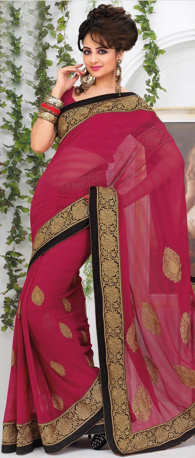 Dark #Pink Faux #Chiffon #Saree With Blouse @ $89.02