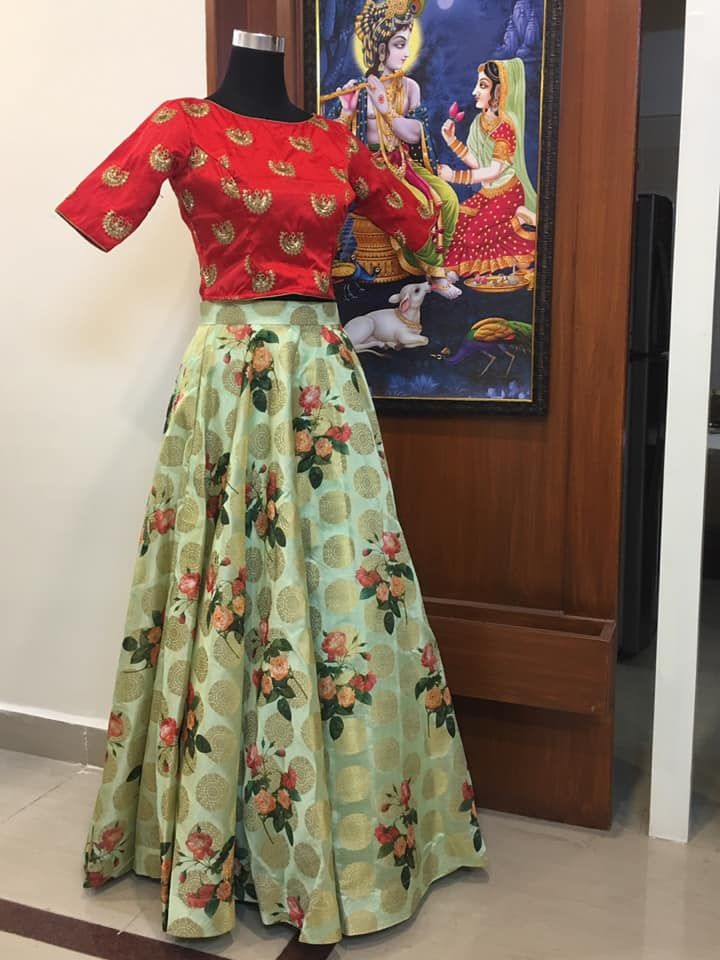 9418cfe61 Beautiful pista green color floral lehenga and red color crop top.Ready to  ship Can be customised ( dupatta will be added if required) To order  WhatsApp ...