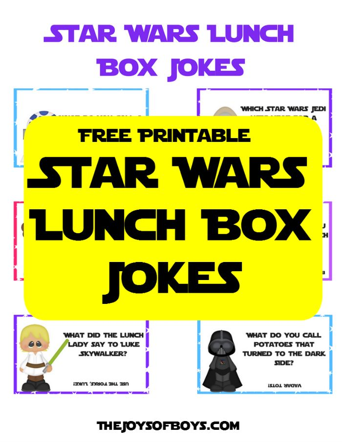 Kids will love finding one of these Star Wars lunch box jokes in their lunch at school.  Just print them off and add them to their lunch for a fun surprise.