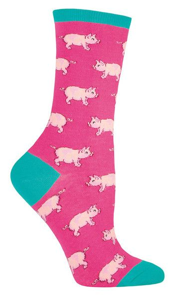 This little piggy went to the market. This little piggy went to school. This little piggy looks so stinking cute in these socks. Crew length sock with pigs all over available in jade or pink. Fits a women's shoe 5-10.