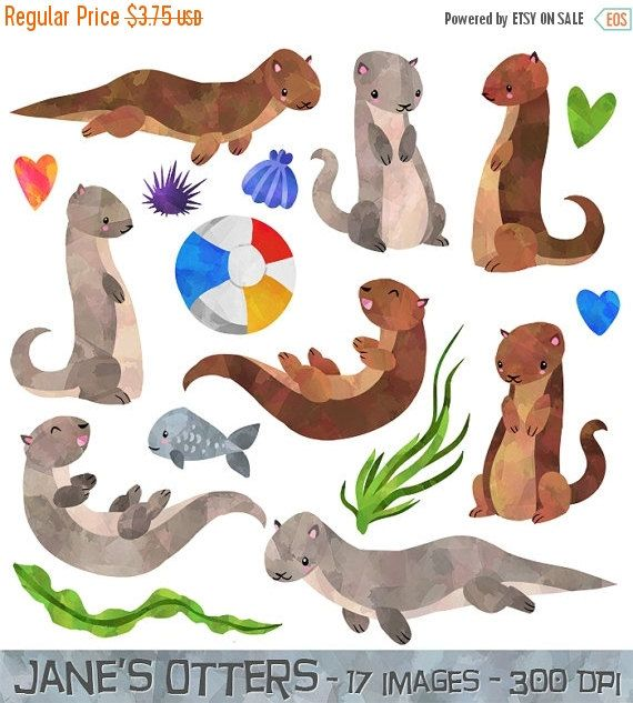 50% OFF Otter Clipart  Watercolor Otters Download  by DigitalArtsi