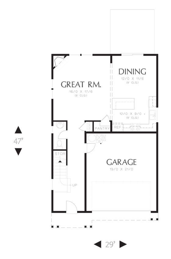 Main Floor Plan of Mascord Plan 22195 - The Melville - Small Footprint, Large Spacious Family Plan