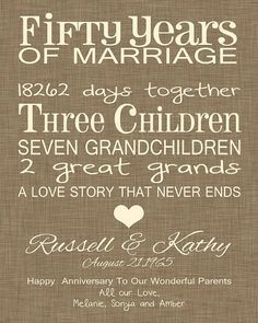 50th Anniversary Gift Fun Wedding Print Personalized Parents