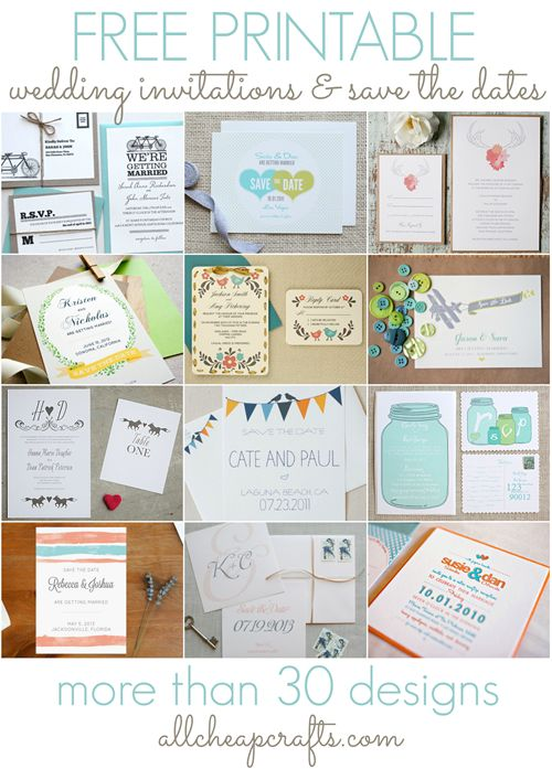 More than 30 Free Printable Wedding Invitations and Save the Date Cards - All Cheap Crafts