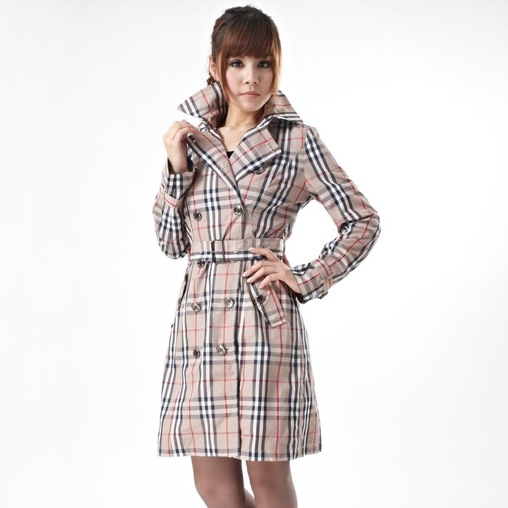 Perfect Womens Trench Coat : New Winter Arrival Brand Designer Classic Checks Pattern Plus Size Trench Coat For Women