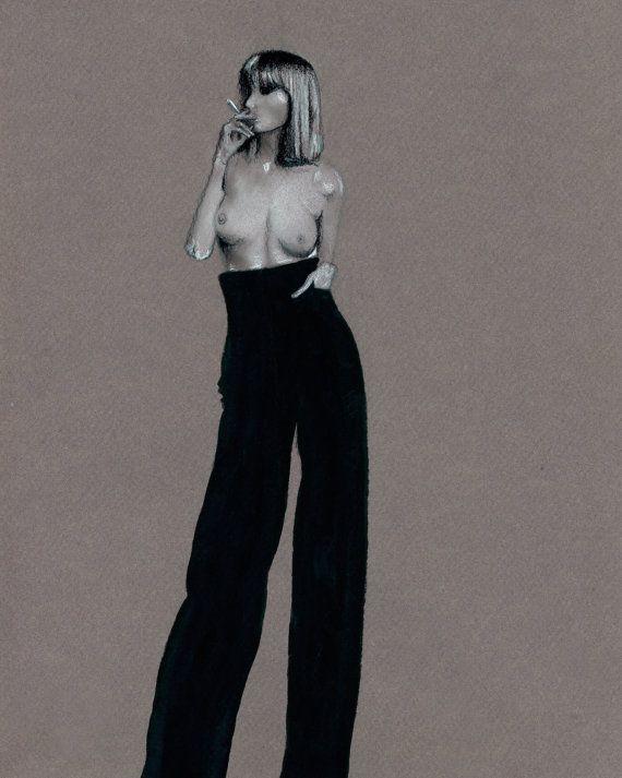 Fashion and model illustration by Marta Jeanette #fashionillustration #fashiondrawing #smokingnude