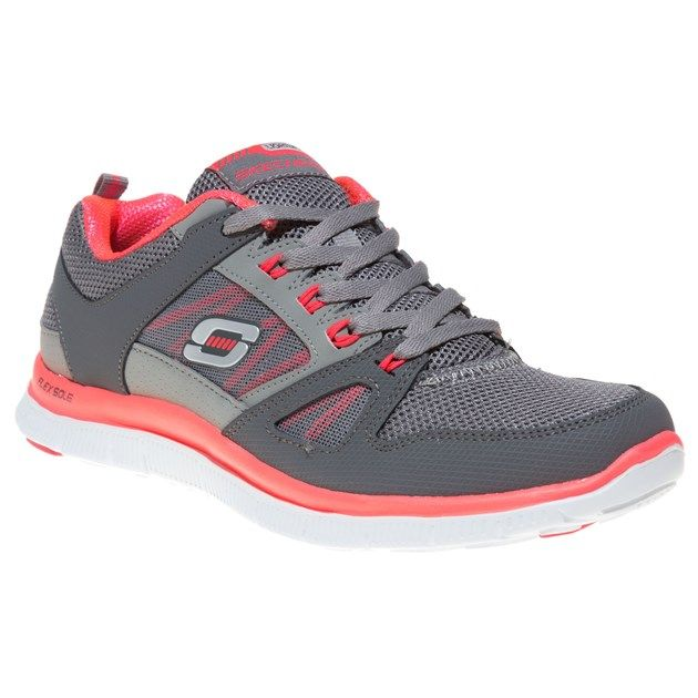 Cheap Womens Grey Skechers Flex Appeal Trainers at Soletrader Outlet