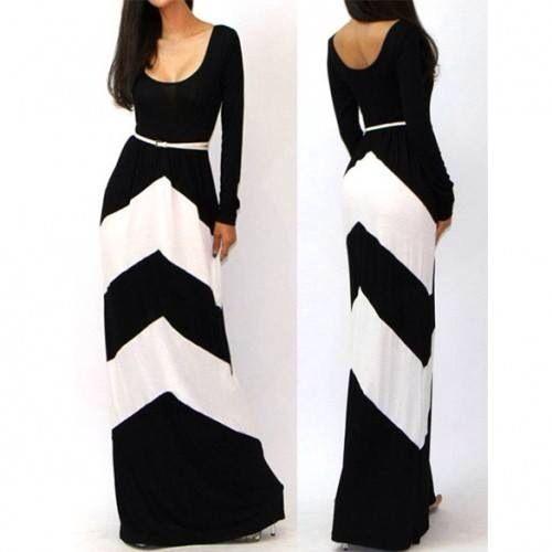 vestido largó blanco y negro