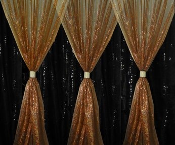Sequin Shimmering Nights available in matching Chair Sleeves, Table Runners, Table Overlays and Fabric.