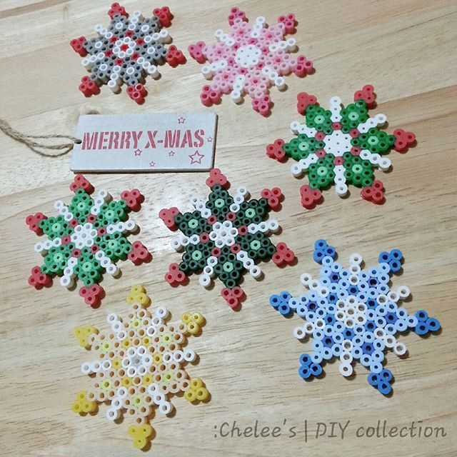 Snowflakes Christmas ornaments perler beads by moshotgraphy