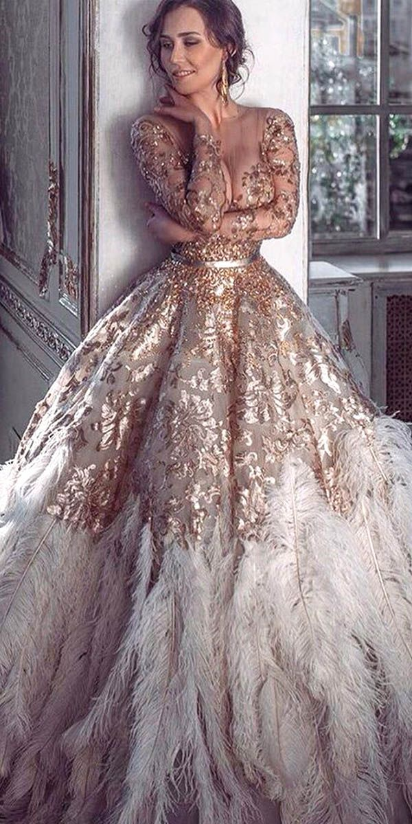 Best 25 gold wedding dresses ideas on pinterest gold wedding 24 beautiful feather wedding dresses trend for 2016 junglespirit Images