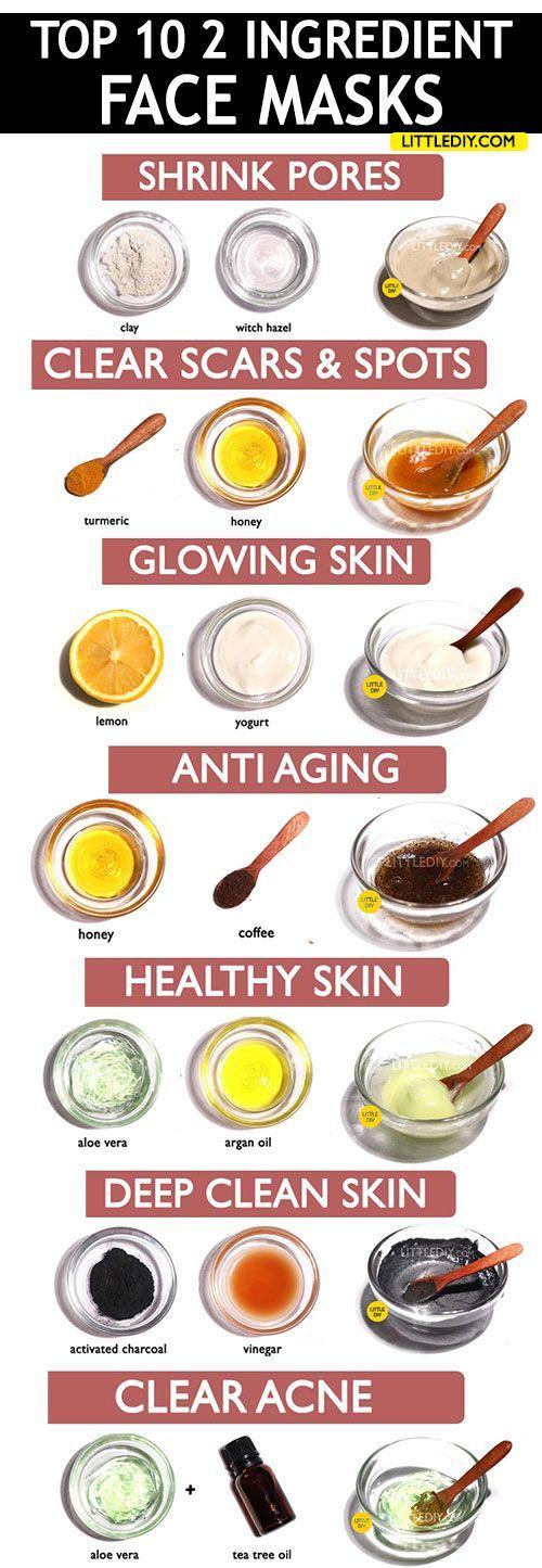 2 INHALTSSTOFFE ERSTAUNLICHE GESICHTSMASKEN für jeden Hauttyp