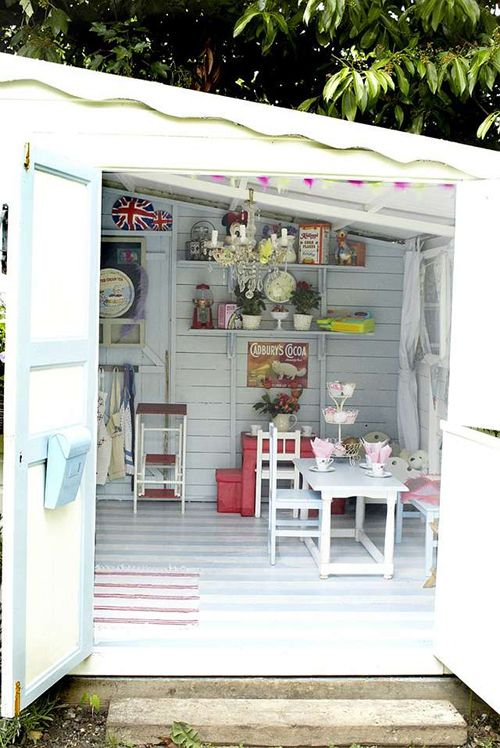 A Shabby Chic Craft Shed | Delightful Home Office In a Shed & children's play area - so pretty!  A little get away in the back yard!