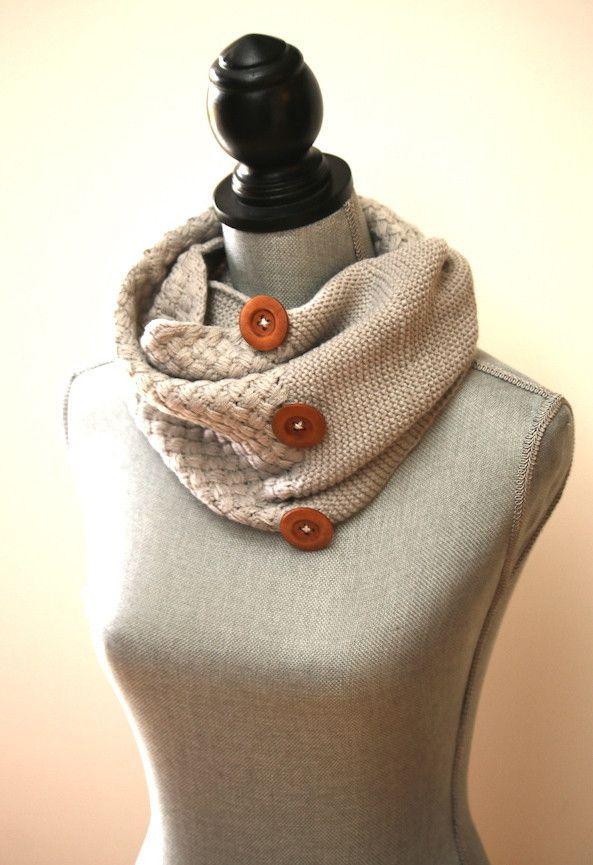 Crochet Button Scarf
