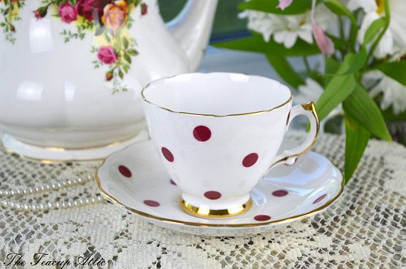 Royal Vale White Teacup and Saucer With Red Polka Dots