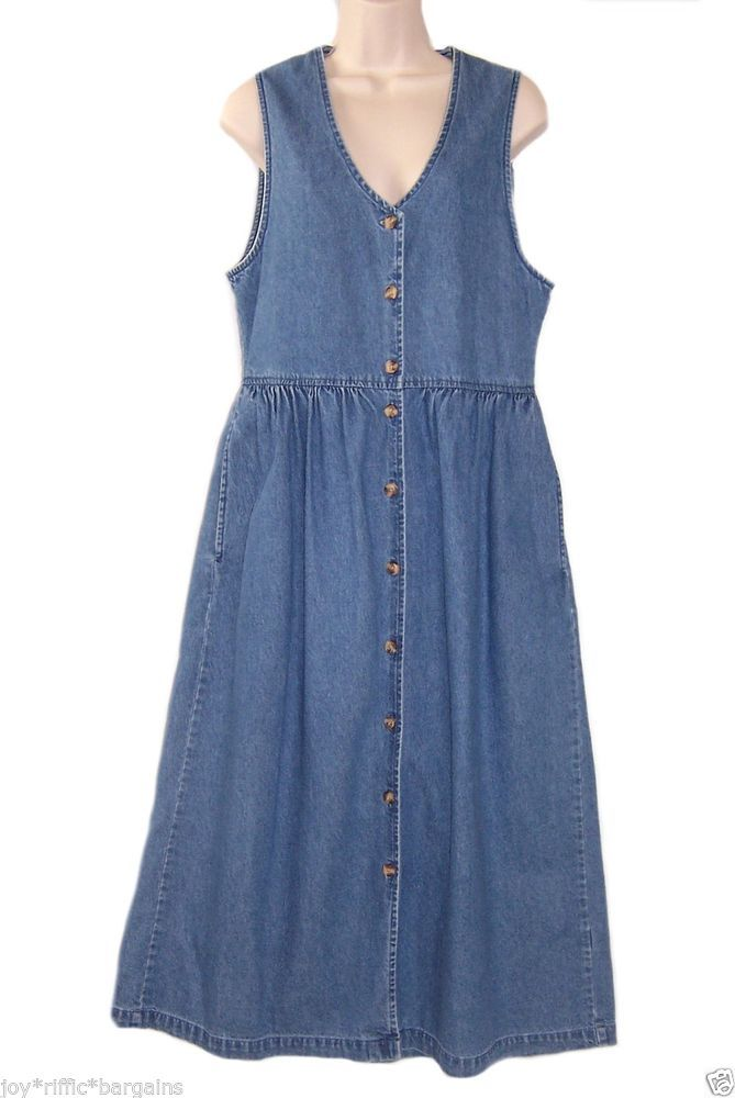 Cabin Creek Womens Blue Denim Jumper Dress Size 8 Long Modest Casual Everyday Cabincreek Jumper Casual Denim Jumper Dress Denim Jumper