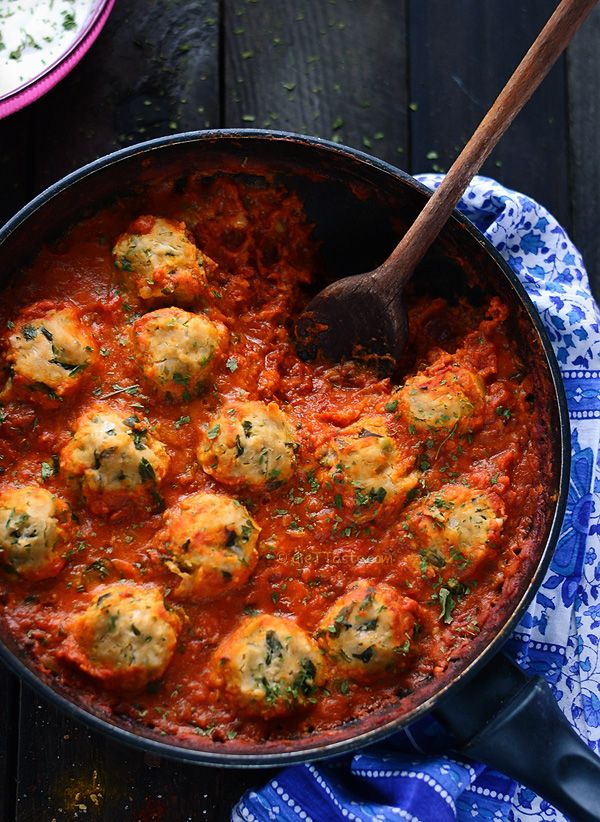 Chickpea Dumplings in Curry Tomato Sauce - a perfect vegetarian one pot dish; protein-rich chickpea dumplings are cooked directly in rich curry tomato sauce; to veganize, use non-dairy yogurt