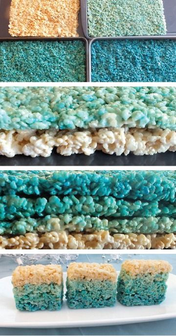 These ombre Rice Krispies Treats® are a quick and easy snack the kids can help you make with any color. The blue is perfect for a summer beach trip dessert or try using their favorite color for a perfect party treat!