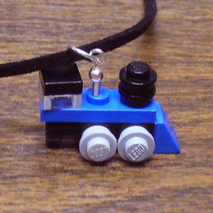 Blue Mini LEGO Train Engine Necklace by FoldedFancy on Etsy
