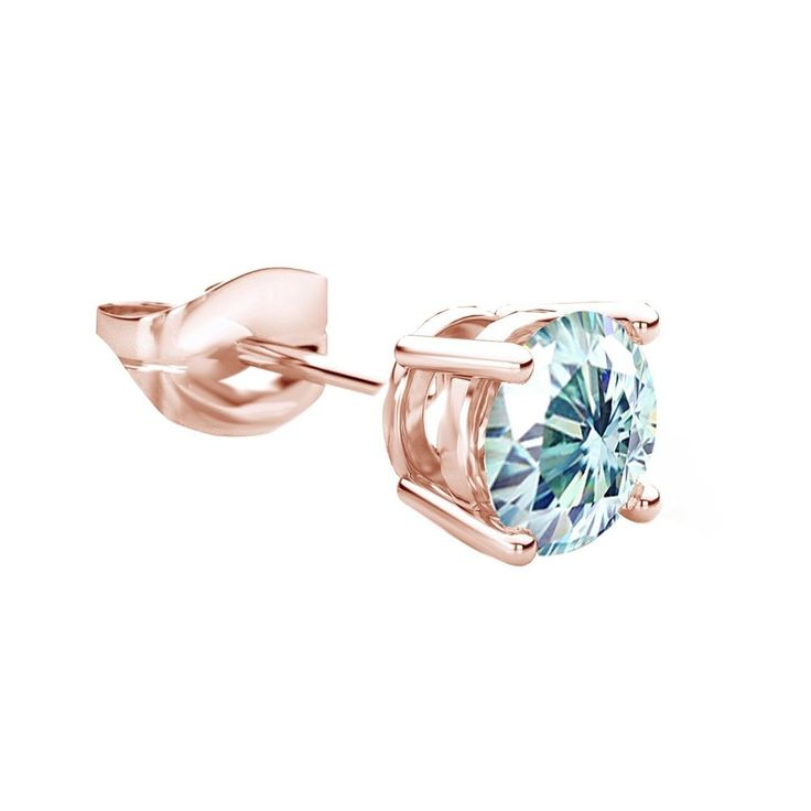 1/3 Ct Light Blue Diamond 14K Rose Gold Over Mens Stud Earrings $999 #AffinityFashionJewelry #Stud #FathersDay