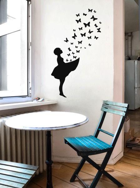 Great Wandtattoo BUTTERFLY GIRL Banksy Stil Streetart