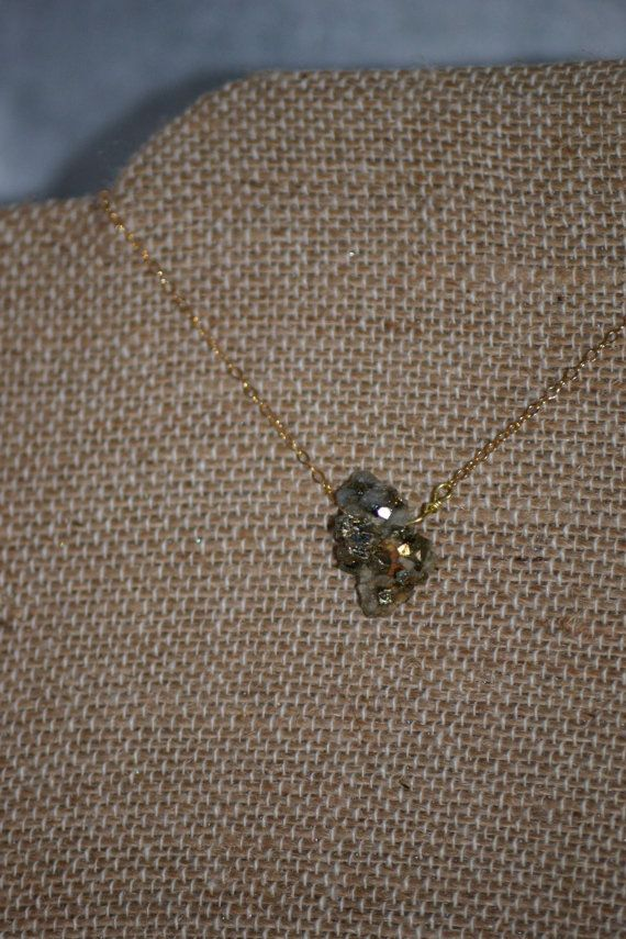 Raw Pyrite Pendant Necklace 18 Gold Fill Necklace Fool's by Bohgeo, $22.00