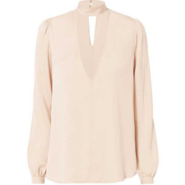 Liza Choker Neck Blouse (1978055 PYG) ❤ liked on Polyvore featuring tops, blouses, pink, pink long sleeve top, a.l.c top, pink tops, deep v neck blouse and long sleeve tops