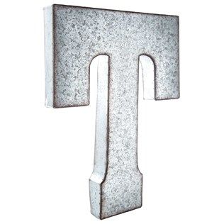 Large galvanized metal letter t living room wish list for Metal marquee letters hobby lobby