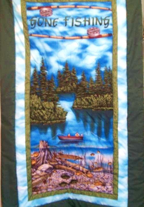 Handmade Lap Quilt or Wall Hanging Gone Fishing  New by naturepoet