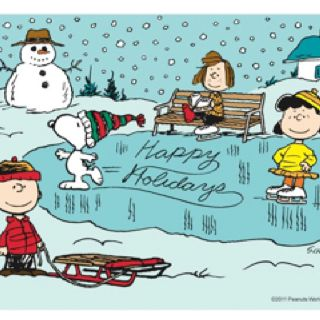 'Happy Holidays!', from Snoopy, Charlie Brown, and the whole Peanuts Gang.
