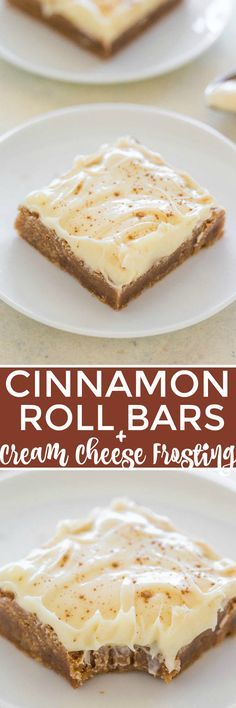 Cinnamon Roll Bars with Cream Cheese Frosting - All the flavor of cinnamon rolls, minus the work!! EASY, bold cinnamon flavor, super soft, chewy, and the FROSTING truly is the icing on the cake!!