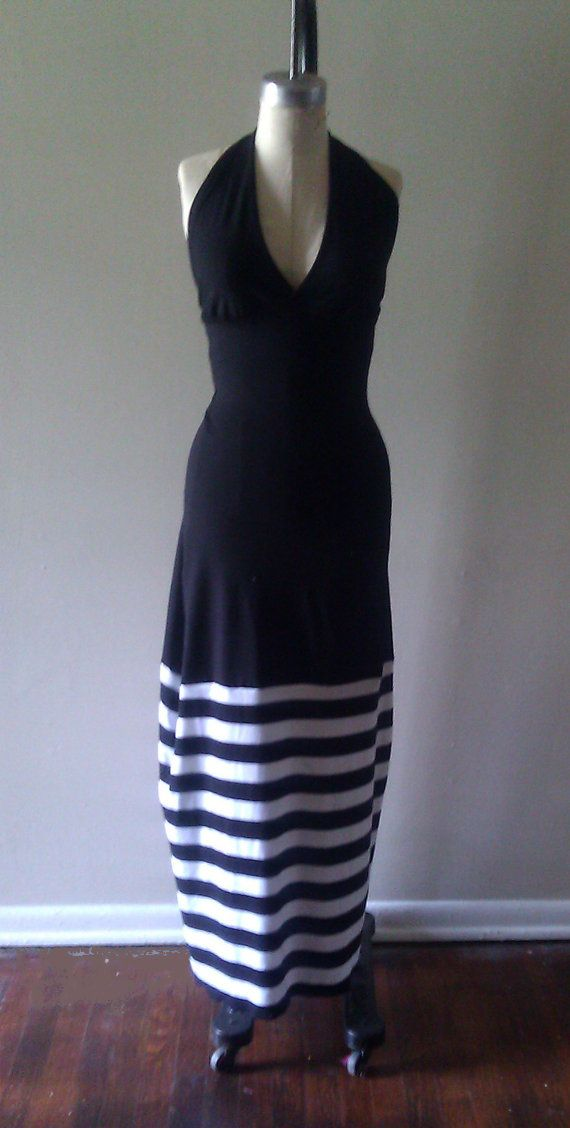 Black and White Color Block Maxi Dress