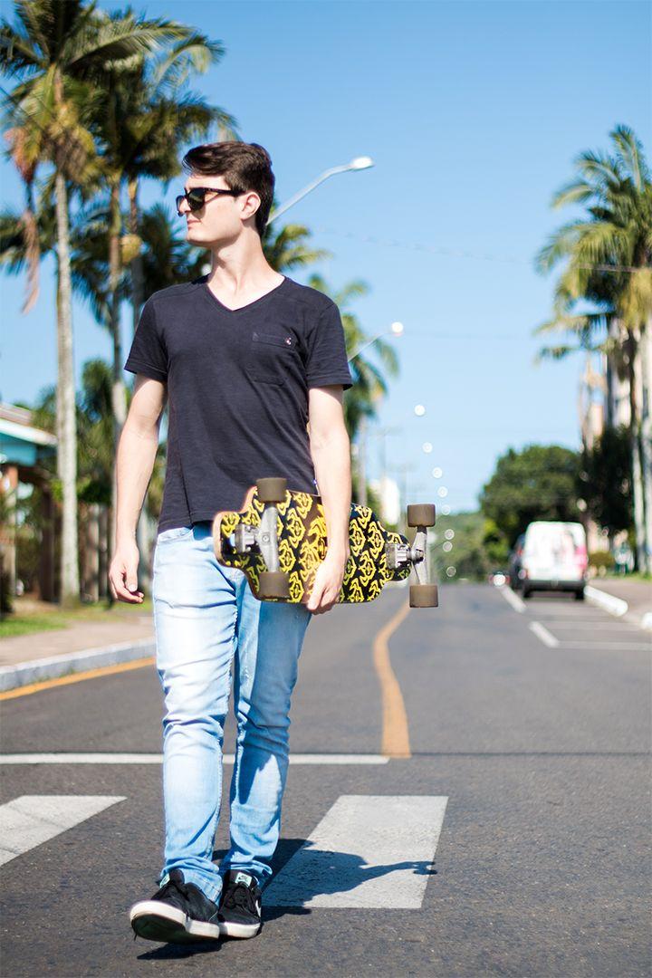 Minimal Longboard    #minimal #minimalist #longboard #darkstar #crail #sector9 #jeans #denim #fashionblogger #malemodel